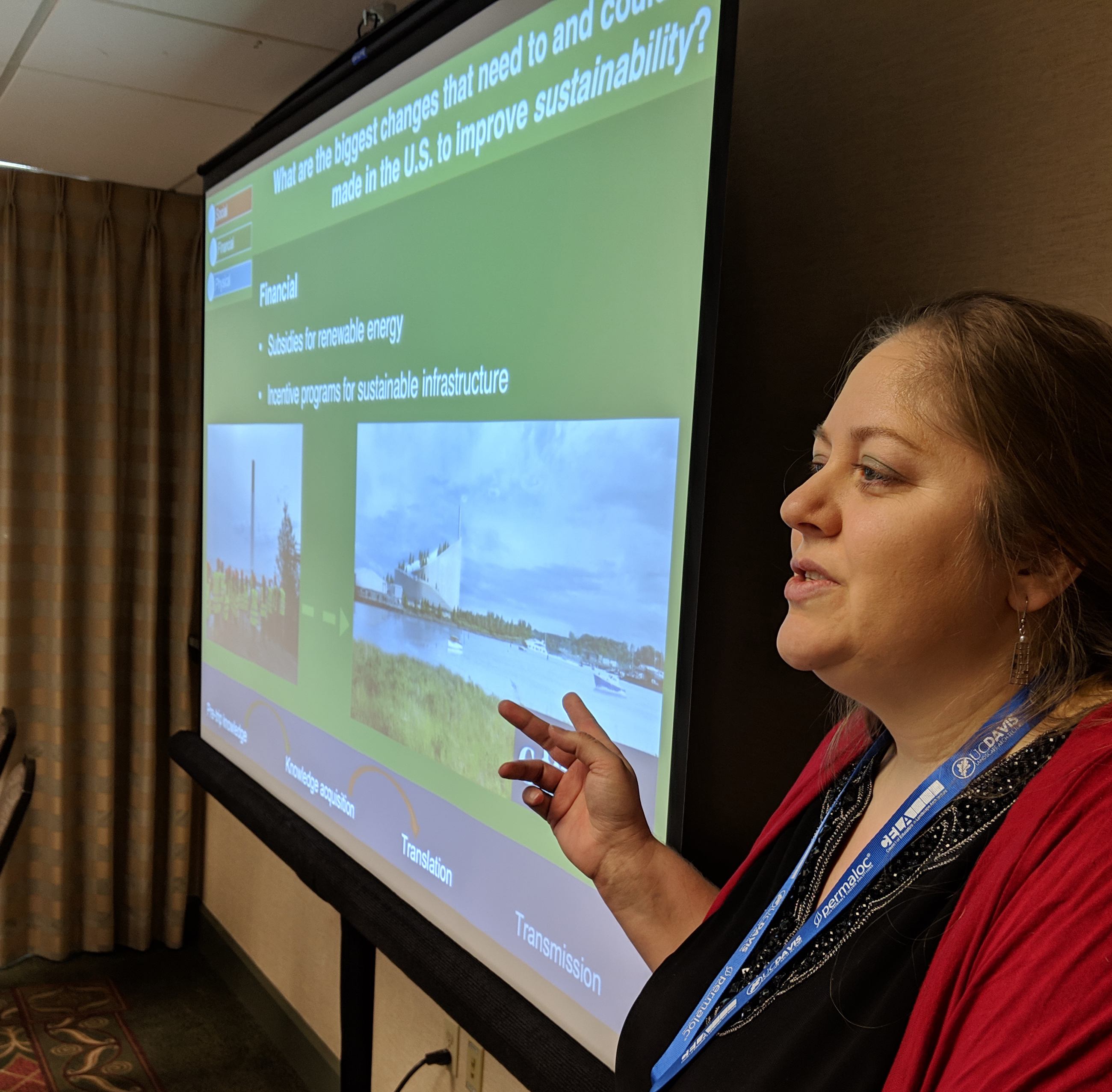graduate student Meghan Klasic presenting at the CELA conference on study abroad pedagogy for sustainable development, March, 2019